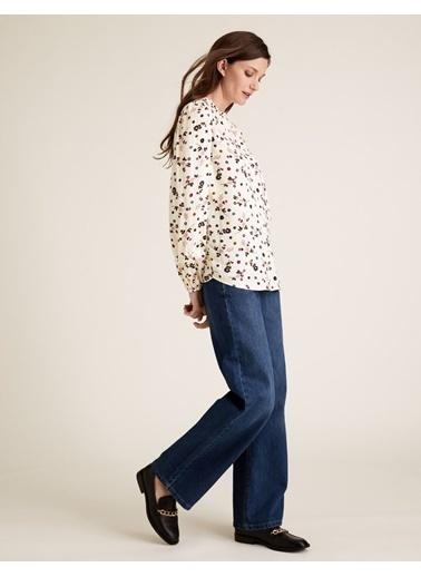 Marks & Spencer Çiçek Desenli Uzun Kollu Bluz Bej